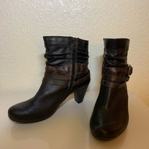 Pikolinos Leather Braided Buckle Boots Sz 40